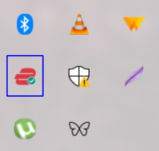 Screenshot showing the ExpressVPN icon in the system tray.